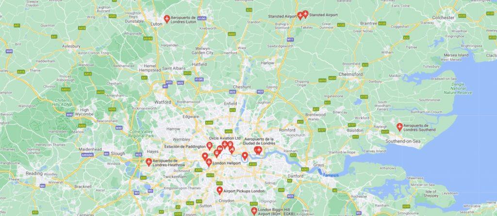 Plano de los aeropuertos de Londres